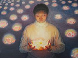 """Tranh sơn dầu """"Đóa sen thắp sáng"""" của Chen Xiaoping (51in. X 51 in. )"""