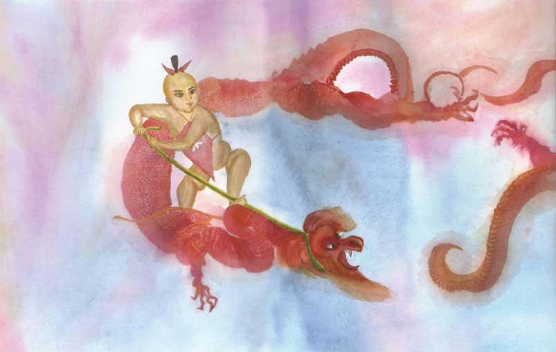 Tranh màu nước: Một cậu bé đánh bại con rồng tà ác