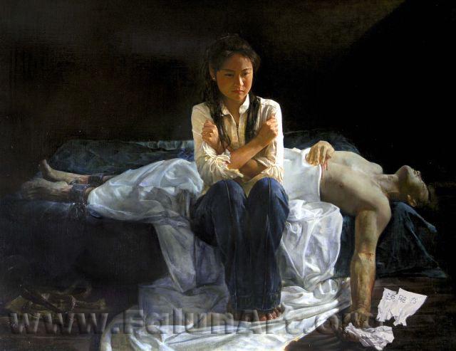 """Tranh sơn dầu """"Thảm kịch tại Trung Quốc"""" của họa sĩ Lý Viên, năm 2004."""