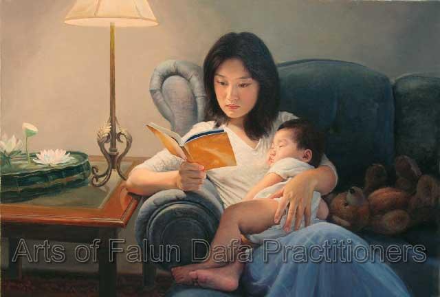 """"""" Rọi sáng, """" tranh sơn dầu, Chen Xiaoping, 30""""x36"""" (2005)"""