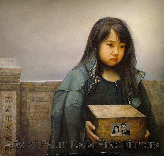 """""""Nước mắt của một Cô nhi"""" của Dong Xiqiang, Tranh sơn dầu, 48""""x 48"""" (2006)"""