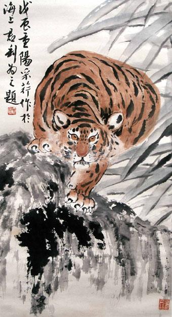"""Tranh bút lông Trung Quốc: """"Chúa sơn lâm"""" của Chương Thúy Anh"""