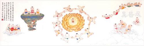 """Tranh truyền thống Trung Quốc, 'Anh hài' của Chương Thúy Anh, (16,5"""" x 45""""), 2004."""