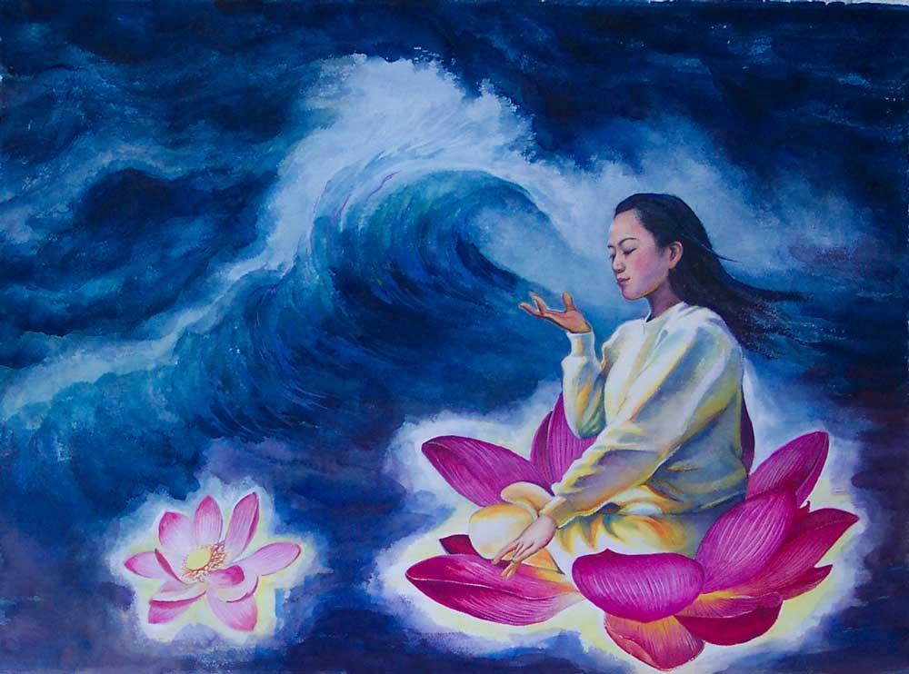 """Tranh """"Kiên tu Đại Pháp khẩn tùy Sư"""" của họa sĩ Trần Tiếu Bình (Chen Xiaoping)."""
