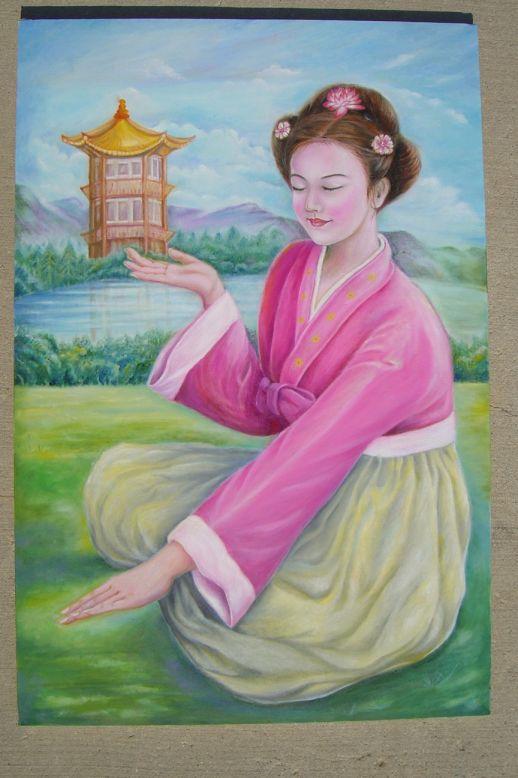 """Tranh """"Cô gái Triều Tiên đả thủ ấn"""" của họa sĩ Quỳnh An."""
