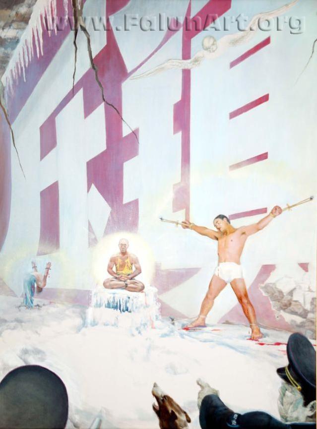 """Tranh sơn dầu: """"Bức tường đỏ"""" của Trương Côn Luân (36 inch x 48 inch), 2004"""