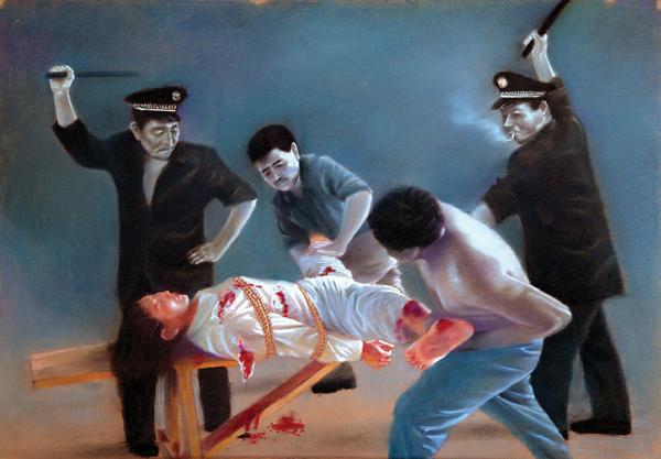 """Tranh phấn màu trên giấy """"Tra tấn phụ nữ"""" của Vương Chí Bình, (39in X 27.5in), 2004"""