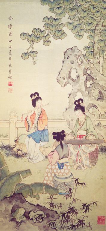 Tranh bút lông Trung Quốc 'Hòa nhạc đồ' của Chương Thúy Anh