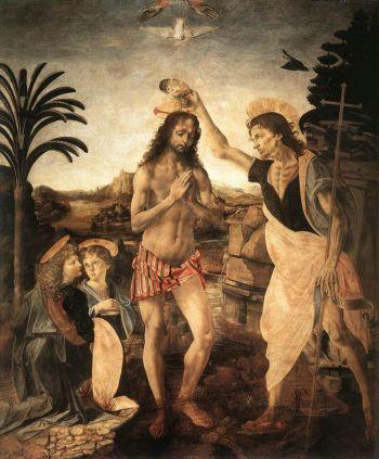 Lễ rửa tội của Chúa: Trong bức tranh này, Andrea del Verrocchio đã được giao nhiệm vụ vẽ lễ rửa tội của Chúa. Bên trái là thiên thần nhỏ màu xanh của Leonardo đang cầm một tấm vải. (Artrenewal.org)