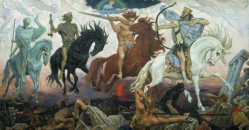 Tranh: Bốn kỵ sĩ tương ứng với bốn phong ấn.