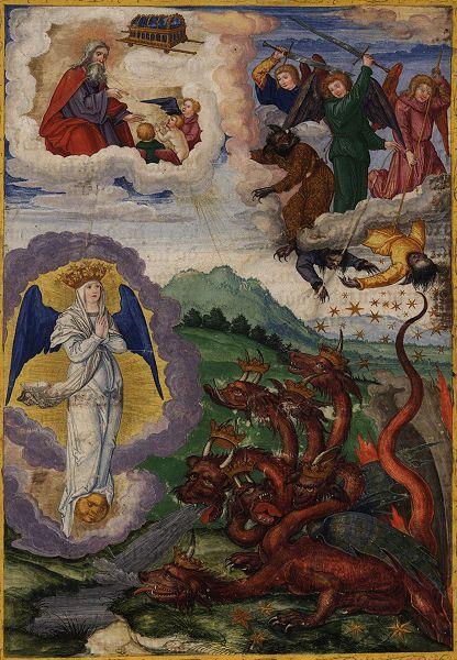 Tranh: Con rồng đỏ bị ném từ trên trời xuống.