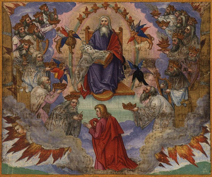 Tranh: Chiên Con cầm cuộn sách với bảy phong ấn.