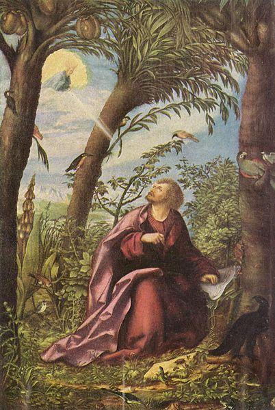 Tranh: Thánh John trên đảo Patmos.