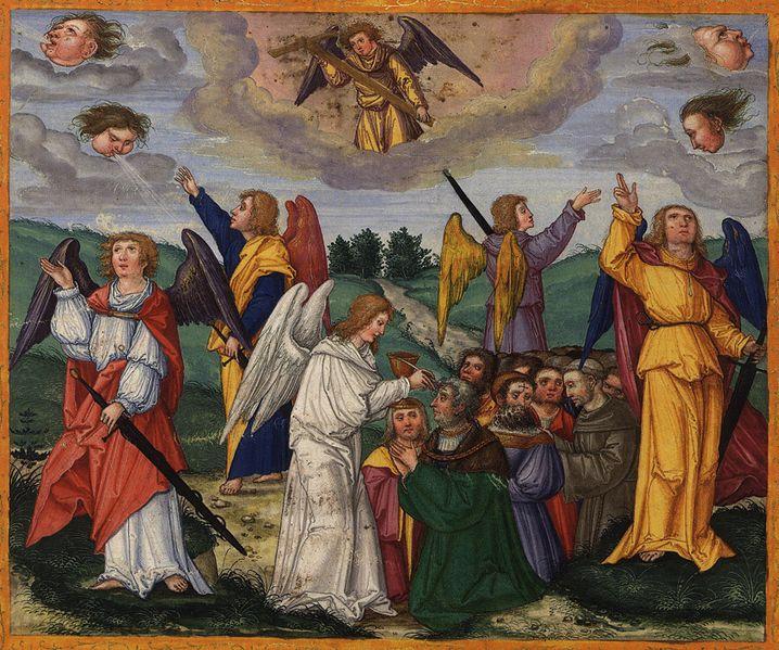 Tranh: Bốn vị thiên sứ giữ bốn góc trái đất.