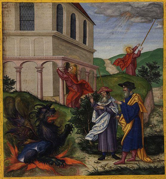 Tranh: Hai vị sứ giả của Thượng Đế bên điện thờ.