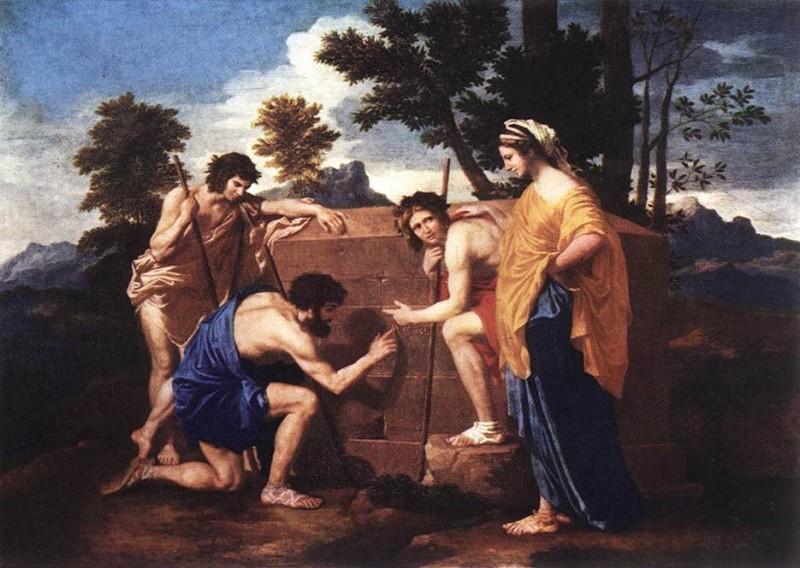 """Tranh sơn dầu """"Những người chăn cừu ở Arcadia""""  (Et in Arcadia ego,Les bergers d'Arcadie) của Poussin, được vẽ vảo khoảng năm 1638~1640, kích cỡ 185x121 cm, tại bảo tàng Louvre, Paris, Pháp."""